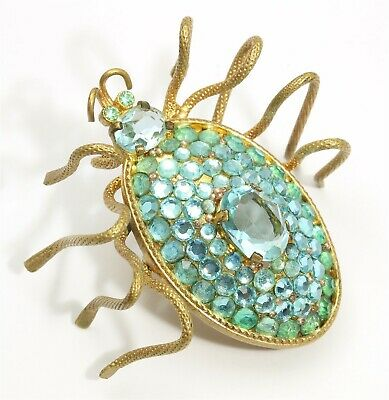 Vintage Ornate Gold Tone Blue Crystal Rhinestone Spider Bug Insect Brooch Pin