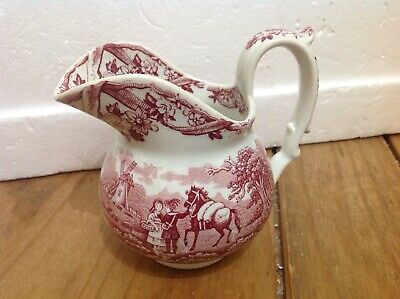 Vintage Red and White Milk Jug , Packhorse Maastricht Petrus Recout