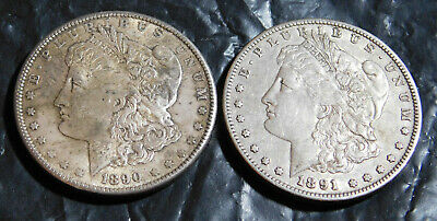 lot of two Vintage Antique 1890 & 1891 Morgan Silver Dollar good detail VERY OLD
