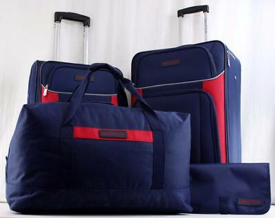 Nautica Oceanview 4 Pc. Lightweight Luggage Set Navy Blue Red New  5