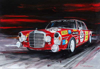 Mercedes Benz 300 SEL 6.3 Red Pig Racing / Original Acrylic Painting by P. Mitos