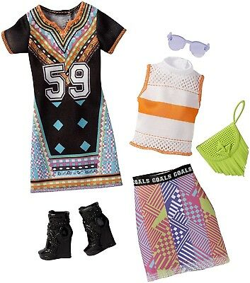 Barbie Fashions 2-Pack Graphic Design Dress,Top, Skirt,Boots,Purse & Glasses NEW