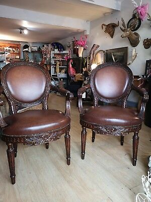 Regency Victorian Wood And Leather Lounge Occasional Chair Carved Antique