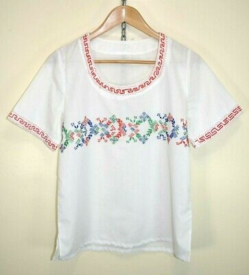 Vintage 1950s-1960s Hand Embroidered Hungarian Peasant Blouse Folk Gypsy