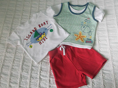 M&S Outfit Red Trousers with Tee Top + Extra Matching Top  3 - 6 Months Holiday?