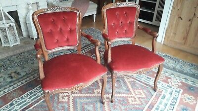 Pair of French style Upholstered Louis XV1 Style Occasional Armchairs Chairs