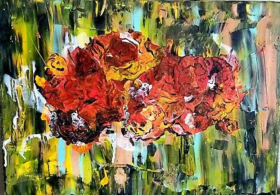 Fall Still Life Original Abstract Painting, Acrylic On Stretched Canvas Signed