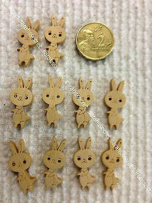 10 x WOODEN BUTTONS with RABBIT - 26mm  - #B858