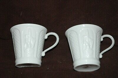 Belleek Cup/ Mug Ivory Wolfhound Visitors Centre~ Ireland MINT Brown Mark~