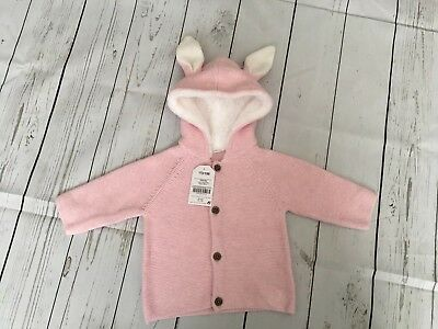NWT Girls NEXT Pink Knitted Jacket/Cardigan with Rabbit Ears size 3-6 Months