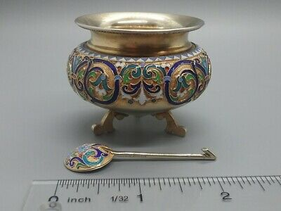 Russian Imperial Antique 84 Silver Enamel Salt Cellar and Spoon Moscow 1890