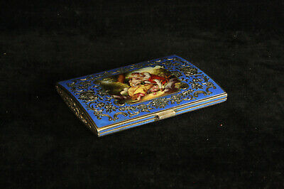 Lovely Antique Austrian 935 Sterling Silver Enameled Portrait Box Royal Blue