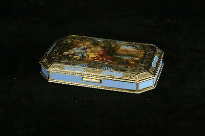 Lovely Antique Austrian 935 Sterling Silver Enameled Portrait Box Powder Blue