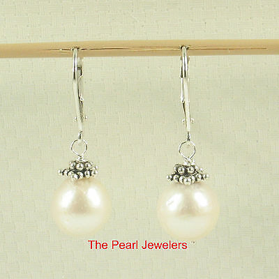 Solid Silver .925 Leverback Bali Beads White Nucleus Pearl Hook Earrings TPJ