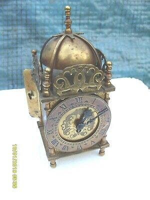 "Mantel  Clock Smiths  Lantern  Clock Brass 7"" Working  + Key"