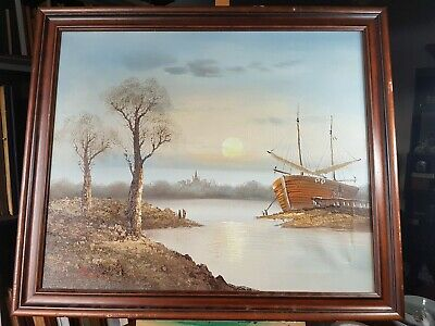 Sunset River Boat Scene Oil On Canvas Painting Signed Bancel