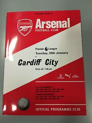 Arsenal v Cardiff City Premier League  Programme +Official Teamsheet 29.01.2019.