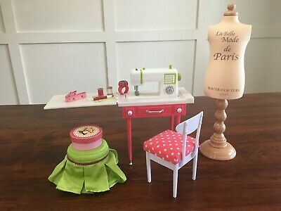 OG Sewing Set and Genuine American Girl Footstool/Vanity Chair (discontinued)