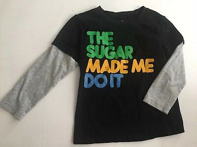 The Sugar Made Me Do It Sz 5 5T Toddler Boy Top Tee Trendy Funny Holiday Shirt