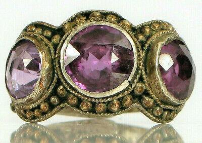 Antique Chinese Sterling Silver Art Deco Filigree 3 Amethyst Hallmarked Ring !