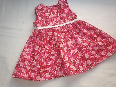 "American Made 18"" Girl Doll Clothes Pink Flowers on White Sleeveless Dress"