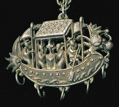 Qing Dynasty Unusual Chinese Sterling Silver Ornate Dragon Boat Scene Pendant !