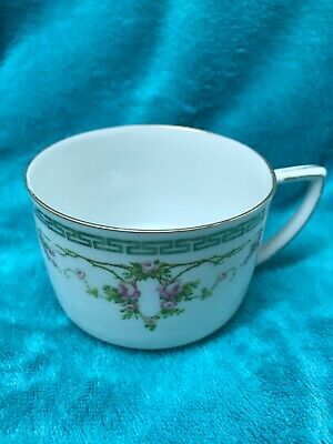 MZ AUSTRIA ROSE WHITE and PINK CUP AND SAUCER with Bold Gold Trim