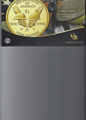 2016 Code Talkers $1 Dollar Coin & Currency Set - United States Mint - AR691