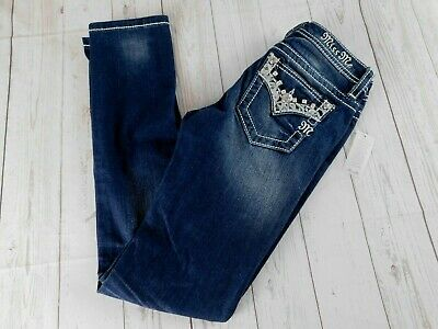 c8057d3d7 NWT Girls Miss Me Skinny Jeans Dark Wash Embellished Bling Size 14 NEW