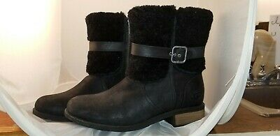 1c6fd85cef3 WOMENS UGG AUSTRALIA Boots Fraise Whipstitch Black Bow Zip Up Ankle ...