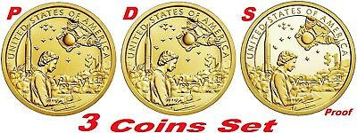 2019 P D S 3-Coin-Set Native American Indians In The Space Program Dollar+Proof