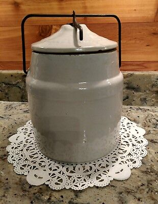 Large Antique The Weir Company Stoneware  Canning Jar With Wire Bale