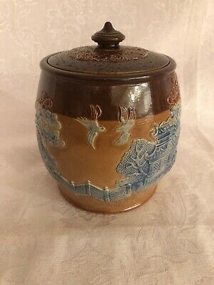 "Royal Doulton-Lambeth  Blue Willow Biscuit Barrel  6"" Tall. **rare**"
