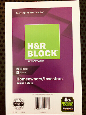 H&R BLOCK TAX Software Deluxe + State 2018 + Investors Same Day