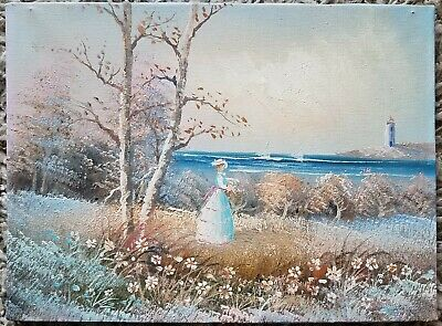 Victorian Girl Seaside Impressionist Oil on Canvas Original Painting- Unsigned