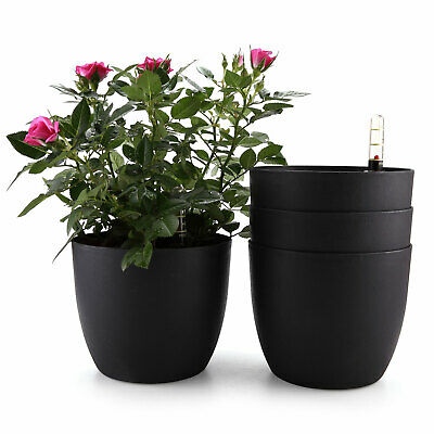 """T4U 6"""" Plastic Self Watering Planter with Water Level Indicator Black Set of 4"""