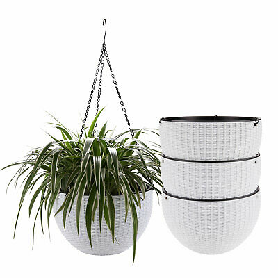 Set 4 Plastic Hanging Planter White Self Watering Basket Flower Plant Container