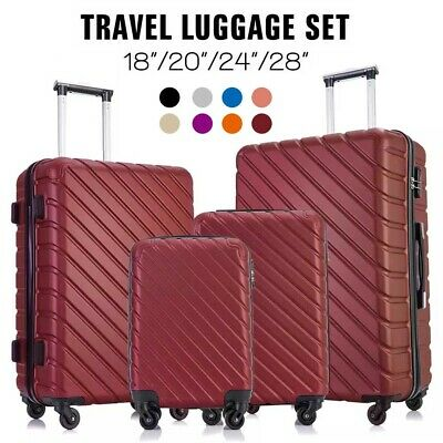"18""20""24""28"" Set of 4 Luggage Set Light Travel Case Spinner Hardshell Suitcase"