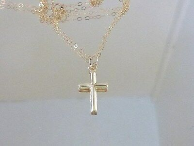 Solid  twenty Inch 14 K  Gold Chain with Small Gold Filled Cross !