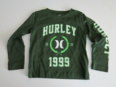 Hurley Toddler Boys 2T Long Sleeve T-Shirt Tee Carbon Green 100% Cotton NWT