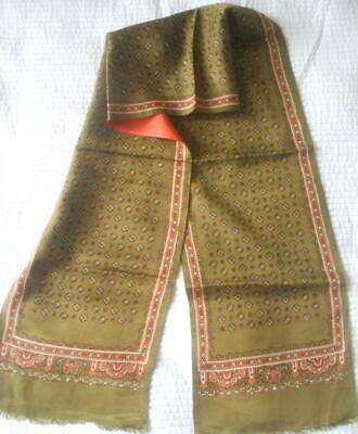 Vintage 1960S Mens Silky Acetate Scarf Olive Green Orange Lining Sml Medallions
