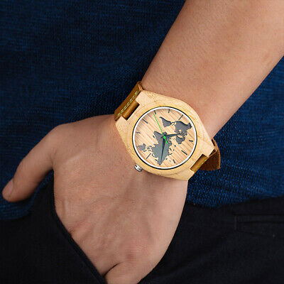 Special Design Genuine Leather Strap with Lettering Men's Wooden Watch Map Watch