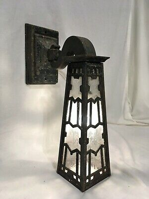 "XL 19"" Antique 1900s Arts Crafts Porch Sconce VTG Cast Iron Gothic Light Fixture"