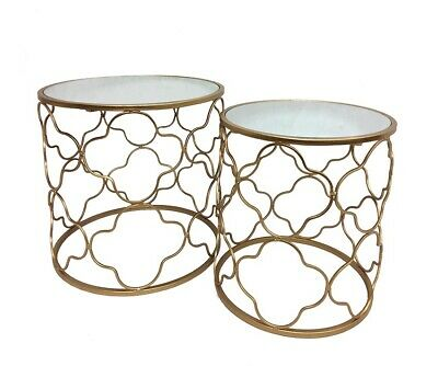 Set 2 Atlantic Round Metal Side Table Bedside Stand Furniture CHAMPAGNE 52X52CM