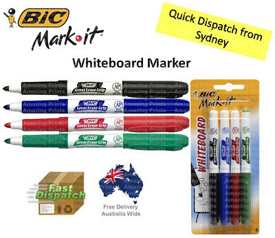 BIC Mark-it Coloured Whiteboard Markers Multi-Coloured Pens for school office