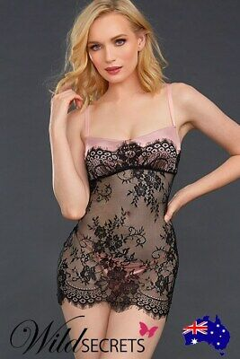 NEW Dreamgirl Twilight Blush Sheer Lace Chemise with G-String, Babydoll/Chemise