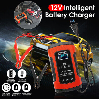 12V Smart Fast Battery Charger Automobile Car Motorcycle LCD Charger +UK Adapter