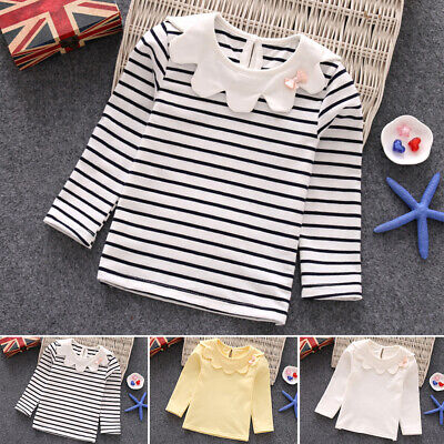 Blouse Tops Shirts Children Long Sleeve Striped Cute Cotton Round Neck Infant