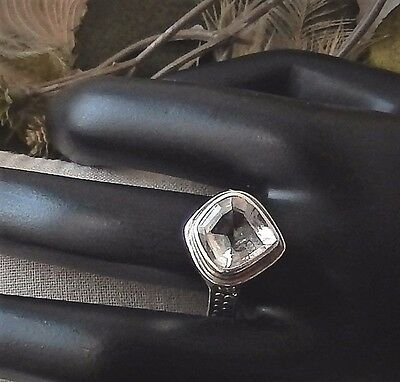 Lori Bonn Sterling Silver Faceted Quartz Cocktail Ring Size 9