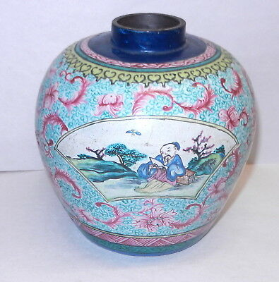 Chinese Enameled YIXING Handpainted BROWN WARE GINGER JAR Tea Caddy Repaired DC